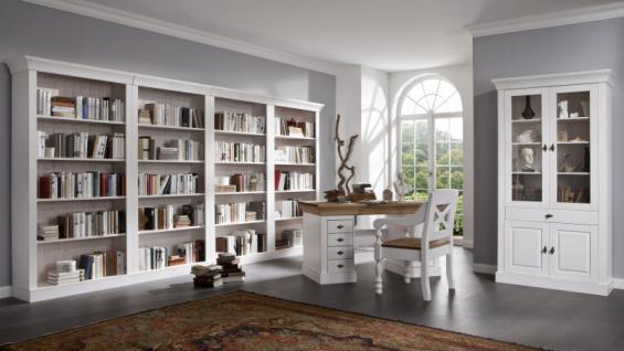 Bibliothek Wohnwand Bücherwand Schreibtisch Kiefer massiv