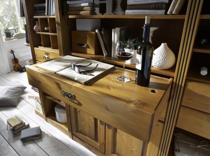 bibliothek wohnwand kiefer massiv goldbraun landhaus. Black Bedroom Furniture Sets. Home Design Ideas