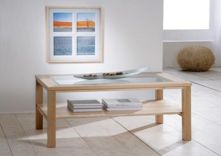 Couchtisch Beistelltisch Wohnzimmer Sofatisch Glasplatte Buche massiv lackiert - Vorschau 1