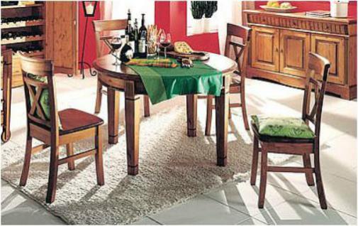 Tischgruppe Essgruppe Tisch rund mit vier Stühlen 5-tlg. Kiefer massiv patiniert - Vorschau