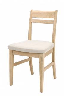 Stühle 2er Set Stuhl Polsterstuhl Sitzkissen Eiche massiv hell lackiert gewachst - Vorschau