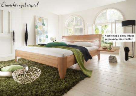 hochwertiges edles Bett Doppelbett aus massiver Kernbuche Überlänge möglich soft - Vorschau 1
