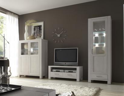 Wohnwand Wohnzimmerwand TV-Board Vitrine Highboard Eiche massiv satin weiß - Vorschau 1