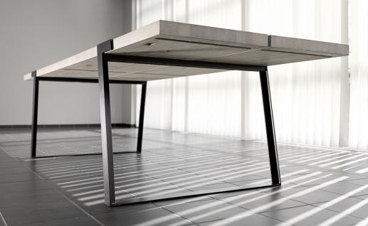 Tisch Esstisch Esszimmertisch Eiche Wildeiche massiv weiss geölt Eisen schwarz - Vorschau 2