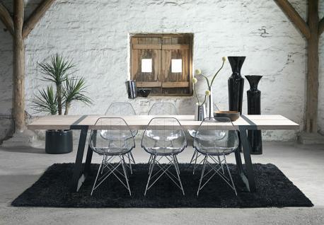 Tisch Esstisch Esszimmertisch Eiche Wildeiche massiv weiss geölt Eisen schwarz - Vorschau 5