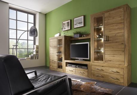 Wohnwand Anbauwand Wohnzimmer 5-teilig Wildeiche massiv - Vorschau