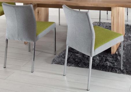 Stuhl Esstimmerstuhl Vierkant Edelstahl grau gelb Stoffbezug Stoff - Vorschau 1