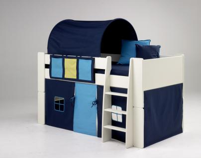 kinderbett hochbett bett mit tunnel vorhang blau mdf wei lackiert kinderzimmer kaufen bei. Black Bedroom Furniture Sets. Home Design Ideas