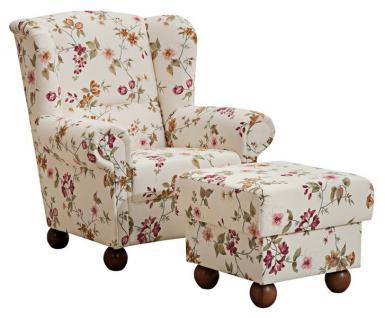 Ohrensessel Ohrenbackensessel Sessel + Hocker + Kissen floral Blumen Landhaus - Vorschau 1