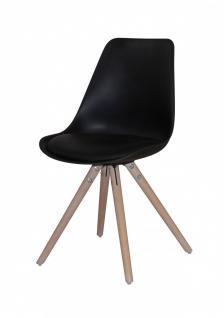 Stuhl 2er Set Stühle Sitzschale Schalenstuhl Kunstleder Eiche nordisch Schwarz - Vorschau