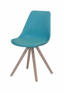 Stühle 2er Set Schalensitz Schalenstuhl Kunstleder Eiche nordisch türkis modern