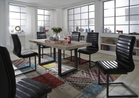 Tisch Esstisch Esszimmertisch 180x90 cm Akazie massiv Roheisen lackiert