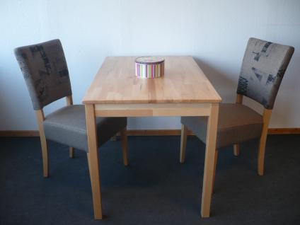 Tischgruppe Esszimmergruppe Sitzgruppe 3-tlg. Tisch 70x110 cm Stuhl Buche Stoff