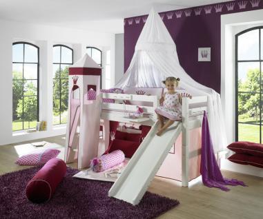 Prinzessinnen Bett Halbhochbett Prinzessin Kinderbett Kinderzimmer massiv Kiefer - Vorschau 2