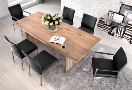 Stuhl Lederbezug Leder kaffee Vierkant Edelstahl Füße modern - Vorschau 2
