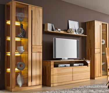 wohnwand wohnzimmerwand vitrine lowboard kernbuche massiv. Black Bedroom Furniture Sets. Home Design Ideas