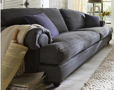Sofa 3-sitzig 3 Sitzer Holzfüße kolonial Polstersofa Textilsofa Couch romantik - Vorschau