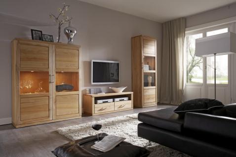 Wohnwand Wohnzimmerwand TV Vitrinen Wohnzimmerset Kernbuche massiv geölt - Vorschau 1