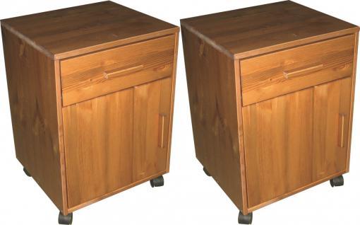 Rollcontainer 2er Set Container Kommode Nachtkommode Kiefer massiv honigfarben - Vorschau 1
