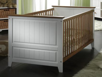 Babyzimmer Babybett Wickelkommode Schrank Regal Kiefer massiv weiß braun klassik - Vorschau 2