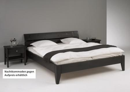 Bett Systembett Doppelbett Überlänge Kiefer massiv schwarz lackiert - Vorschau 1