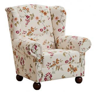 Ohrensessel Ohrenbackensessel Sessel + Hocker + Kissen floral Blumen Landhaus - Vorschau 3