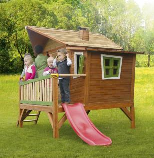 Spielhaus mit Rutsche und Veranda Holzspielhaus Spielhütte für Kinder Garten - Vorschau 3