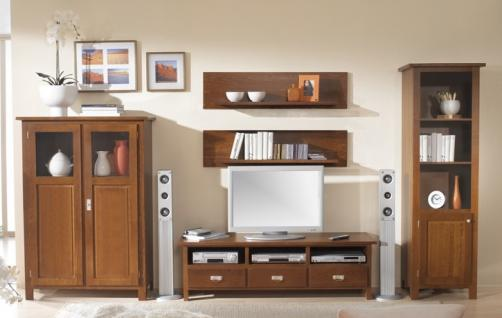 Wohnwand Wohnzimmerwand Wohnzimmer TV Buche massiv Landhaus lackiert braun - Vorschau 1