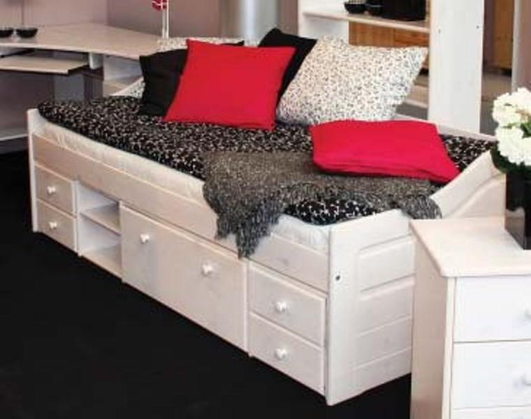 funktionsliege melanie jugendbett schubladenbett bett liege kiefer massiv weiss kaufen bei. Black Bedroom Furniture Sets. Home Design Ideas