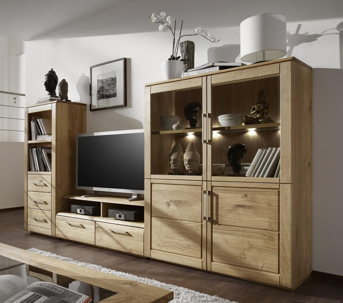 wohnwand tv wohnzimmerwand fernsehwand wildeiche ge lt massiv natur rustikal kaufen bei saku. Black Bedroom Furniture Sets. Home Design Ideas