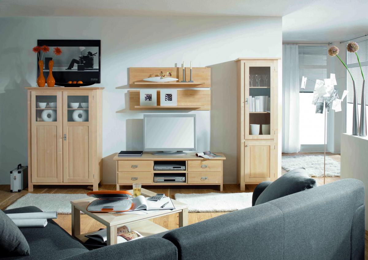 wohnwand wohnzimmerwand wohnzimmer tv wand birke massiv gewachst kaufen bei saku system. Black Bedroom Furniture Sets. Home Design Ideas