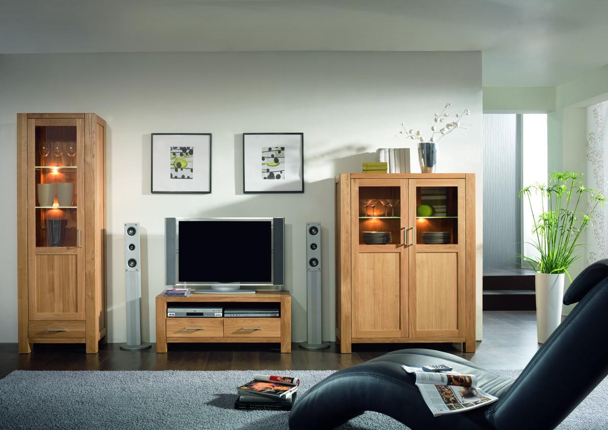 wohnwand wohnzimmerwand highboard vitrine tv board eiche massiv ge lt natur kaufen bei saku. Black Bedroom Furniture Sets. Home Design Ideas