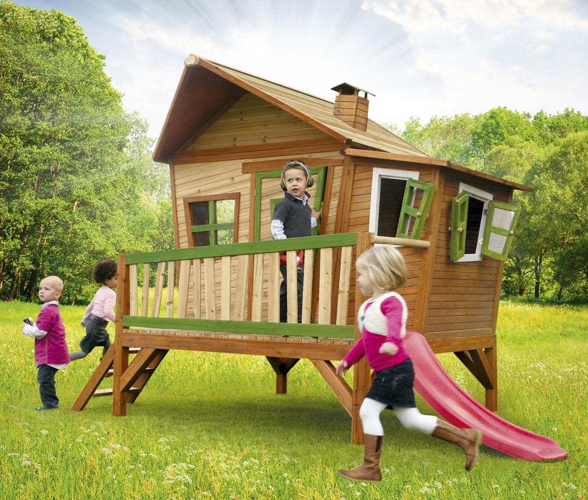 spielhaus mit rutsche und veranda holzspielhaus spielh tte f r kinder garten kaufen bei saku. Black Bedroom Furniture Sets. Home Design Ideas