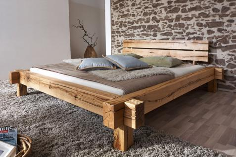Bett Doppelbett Balkenbett Wildeiche massiv Schlafzimmer Balken rustikal geölt
