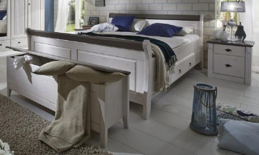 Bett Nachtkommode Truhe Schlafzimmer Set Kiefer massiv weiß grau Landhaus - Vorschau 1