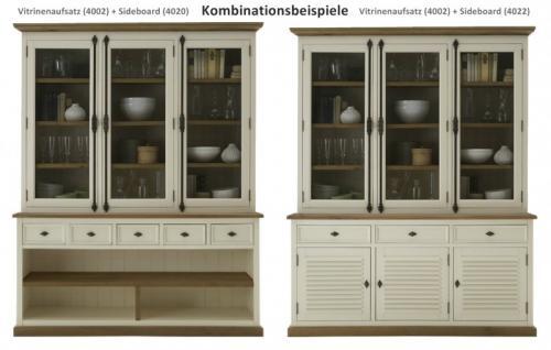 Aufsatz Vitrine Buffet Pinie Wildeiche massiv geölt antik weiß shabby vintage - Vorschau 3