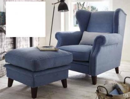Sessel Solitär Ohrensessel mit Hocker Holzfüßen lose Sitzkissen Holzfüße blau - Vorschau