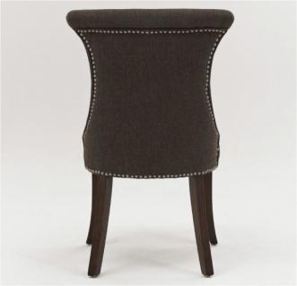 Polstersessel Polsterstuhl 2er Set Sessel mit Ziernägeln Stoff / Beine braun - Vorschau 2