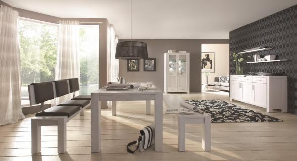 Wohnzimmer Esszimmer Wohnraum Kompletteinrichtung Eiche massiv geölt satin weiß - Vorschau 2