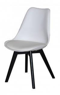 Stuhl Set 2er Stühle mit Sitzschale Kunstleder schwarz weiß nordisch weiß weiss - Vorschau