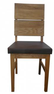 Stuhl Esszimmerstuhl Stuhl-Set 2 Stk Eiche massiv geölt PU Sitzpolster braun - Vorschau 2