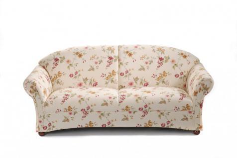 Sofa Couch 2, 5-Sitzer Polstersofa Landhaus weiß floral Blumen Muster romantisch - Vorschau