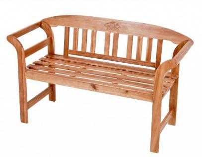 Bank Sitzbank Akazie FSC massiv geölt 2-Sitzer mit Rosenverzierung Gartenbank - Vorschau 1