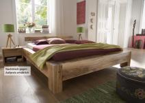 Bett Systembett massiv Eiche Balkeneiche geölt rustikal mit Wuchsrissen