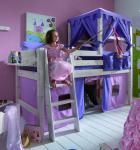 Hochbett Kinderbett Kiefer massiv weiß Vorhang Himmelbett Prinzessin Mädchen