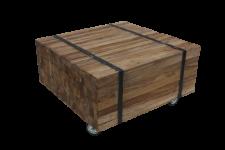 Couchtisch Beistelltisch Wohnzimmertisch auf Rollen Teakholz Planken Vintage