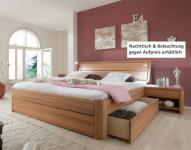 Schubkastenbett Doppelbett aus massiver Kernbuche Überlänge möglich soft