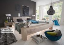 Bett Systembett massiv Eiche Balkeneiche white wash rustikal Überlänge möglich