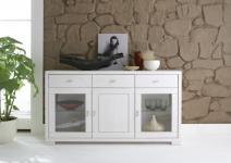 Sideboard Kommode Anrichte Vitrine Kiefer massiv modern weiß