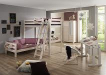 Kinderzimmer komplett Set Etagenbett Schrank Schreibtisch Kiefer massiv weiss